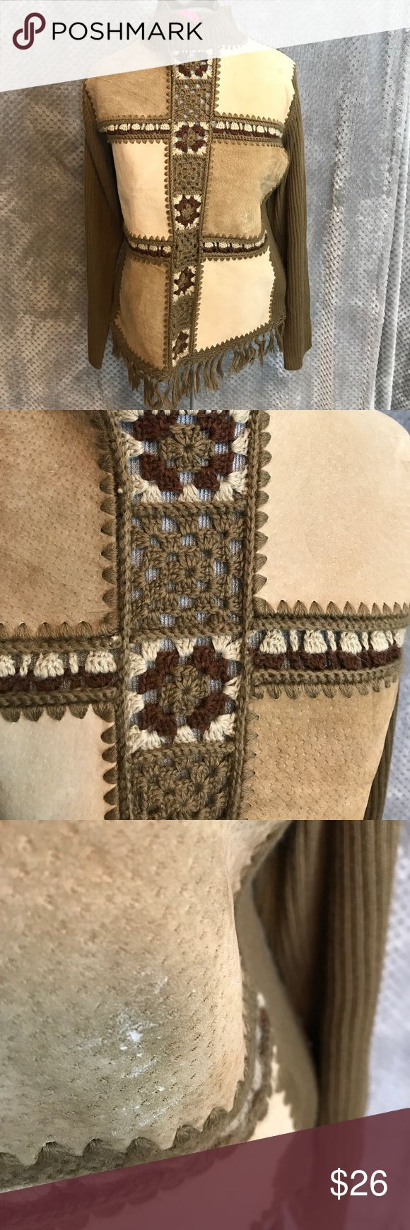 """Gizel crochet suede turtleneck sweater boho Awesome retro look sweater. Granny square crochet with sided sections. One section has a spot on it as noted in pic. Fringe around the bottom. Bust 18"""". Length 21"""". Boho! gizel Sweaters Cowl & Turtlenecks"""