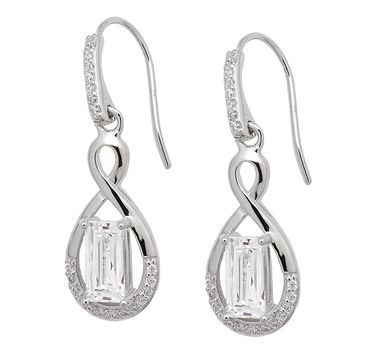 Tycoon for Diamonelle Sterling Silver Platinum Plate Infinity Earrings