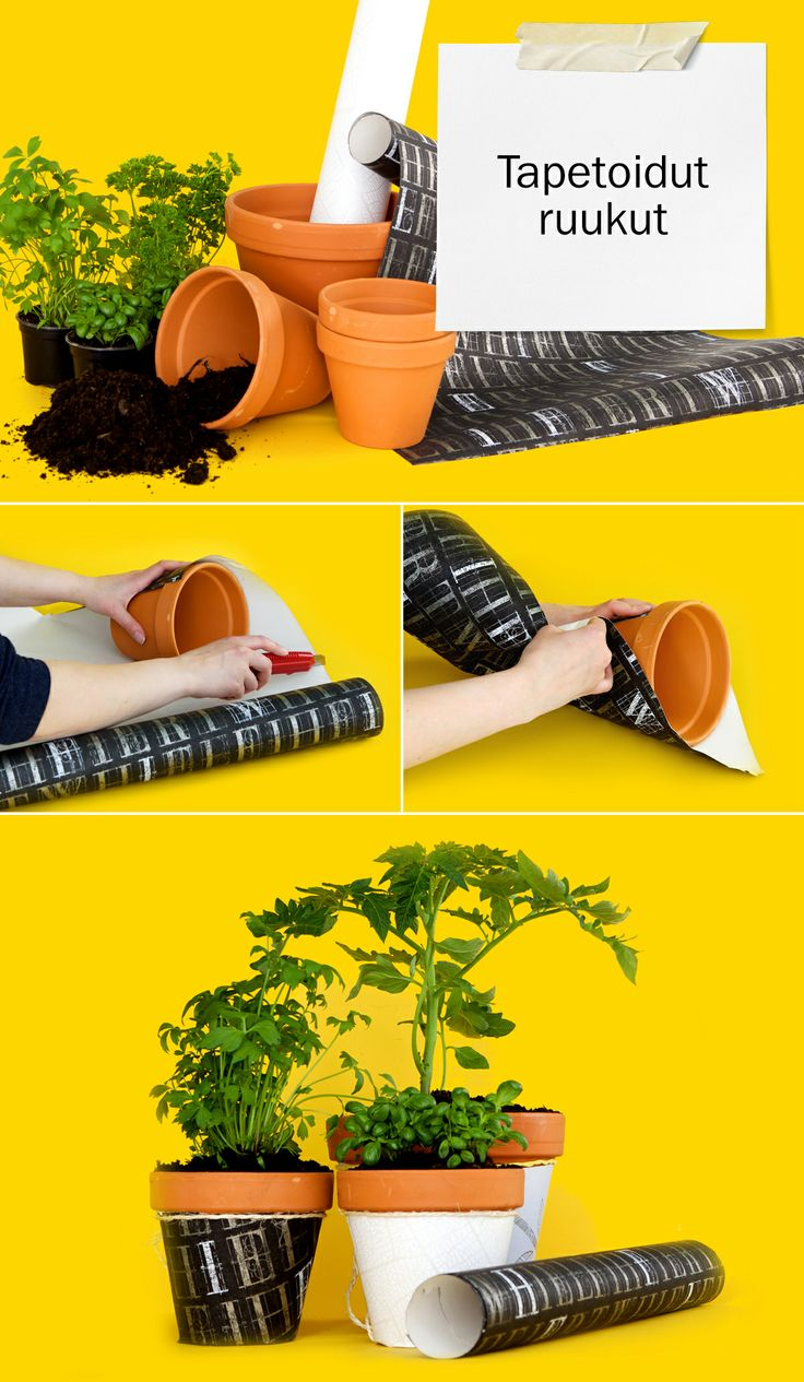 #DIY tapetoidut ruukut. Korista tylsät ruukut tapetilla ja terassi saa uuden ilmeen! Lisää ideoita osoitteessa dreambuilder.fi. #tapetti #ruukut #askartelu #koristelu    #DIY decorate pot with a wallpaper. For more ideas, visit dreambuiler.fi. #wallpaper #pot #pots #decoration