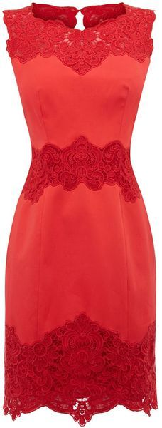 W-A-N-T Karen Millen Heavy Cotton Lace Collection Dress in Red (coral)