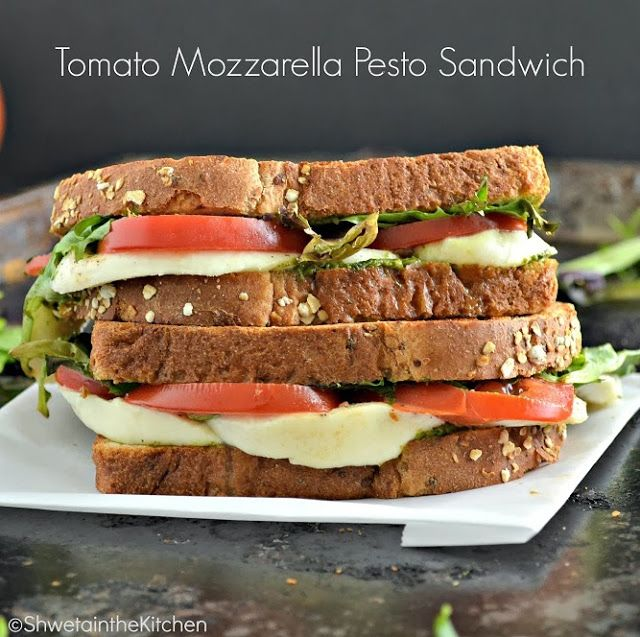 Tomato Mozzarella Pesto Sandwich | Looks Delish! | Pinterest