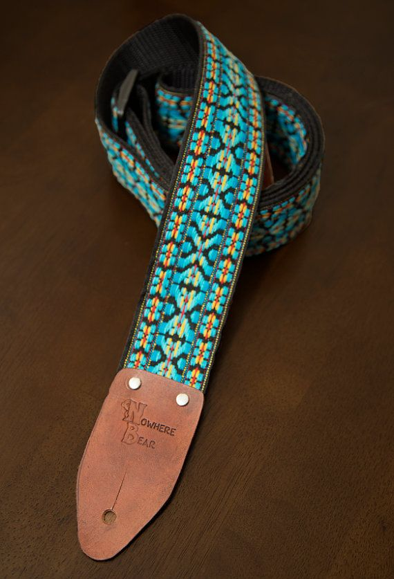 Blue Vintage-styled Guitar Strap  // Nowhere Bear on etsy #$40