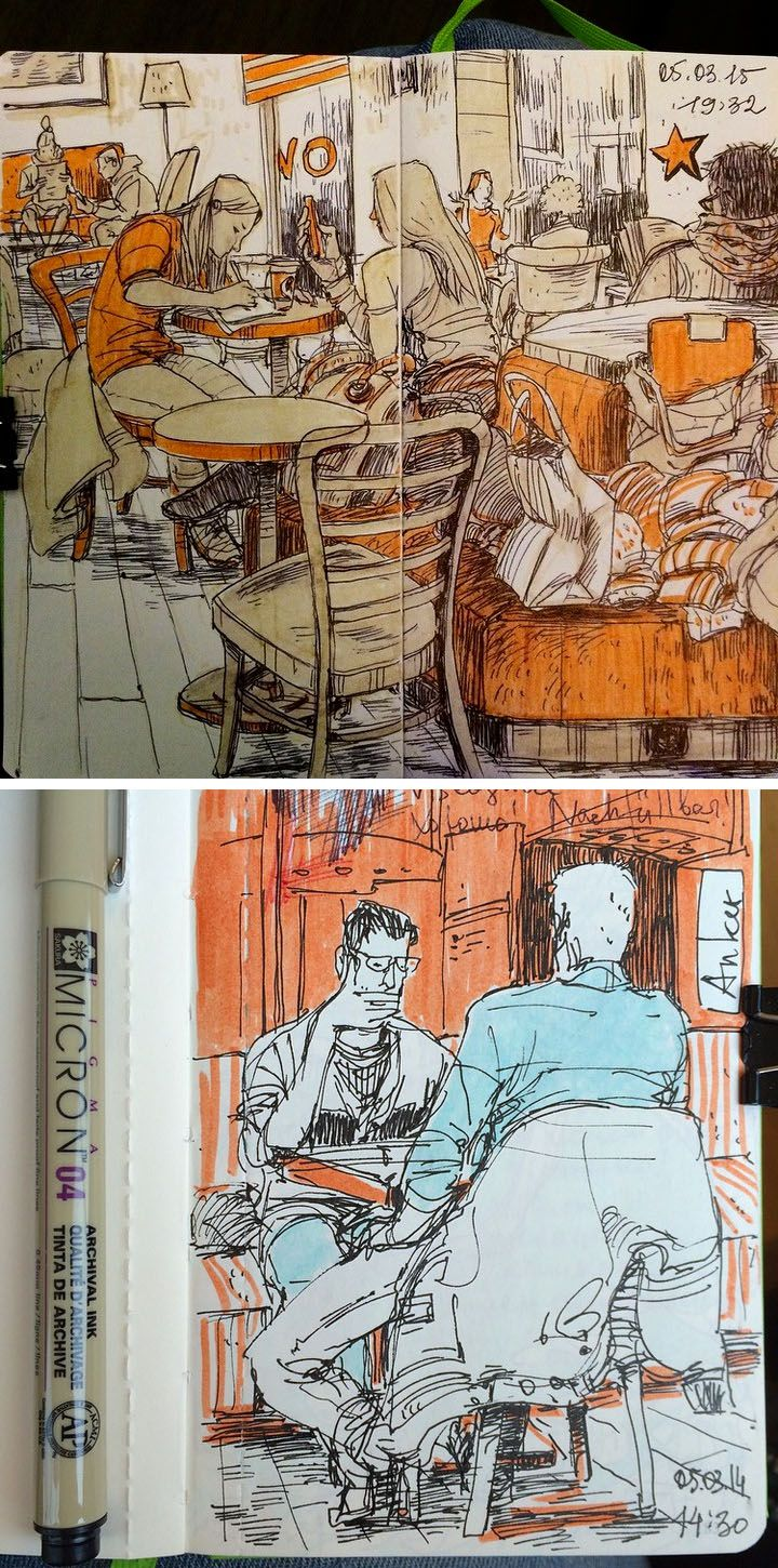 Cafe Sketches by Vorona Nanetta #sketch #watercolor                                                                                                                                                                                 Más