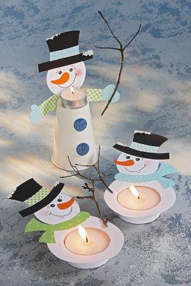 Teelicht Schneemann: Schneemann-Teelicht als Weihnachts-Deko