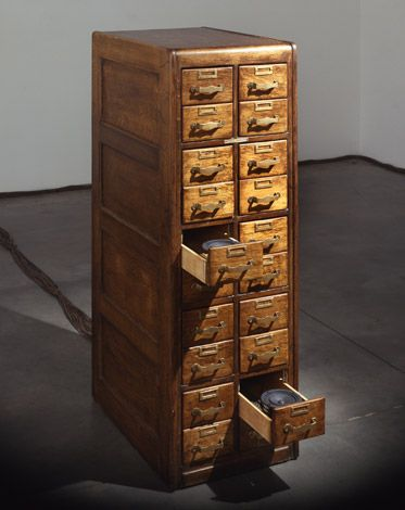 Janet Cardiff & George Bures Miller   The Cabinet of Curiousness   2010    Open of each drawer would activate a voice from within the cabinet.