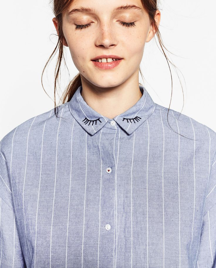 STRIPED SHIRT WITH EMBROIDERED COLLAR