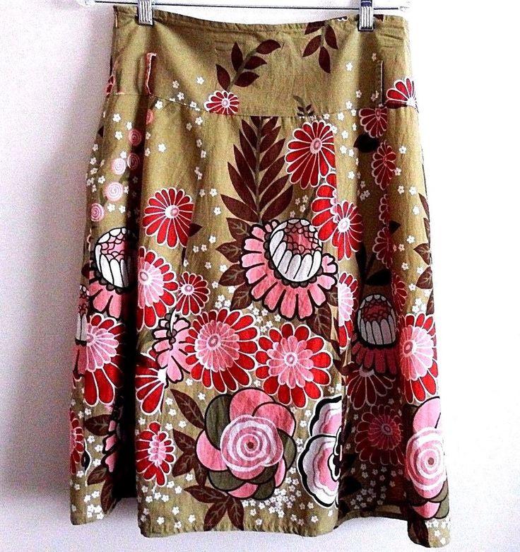 Mint Green Brand Womens Oliver Green High Waisted Floral Lined Skirt Size M #MintGreen #FlareSkirt
