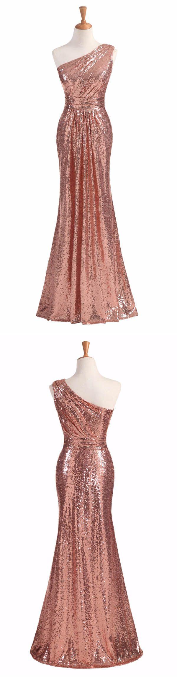 Long Bridesmaid Dress, One-Shoulder Dress, Sequin Bridesmaid Dress, Dress for Wedding, Mermaid Bridesmaid Dress, LB0159