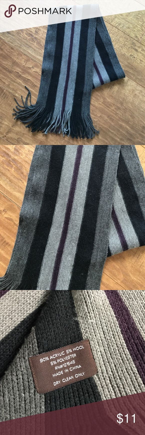 Men's Wool Sweater Scarf Black, gray, & plum/dark purple Accessories Scarves