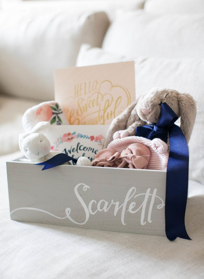 Scarlett's welcome basket! http://www.stylemepretty.com/living/2015/10/29/little-bunny-baby-gift-box/