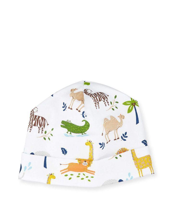 Jungle Jaunt Pima Baby Hat, Navy/White