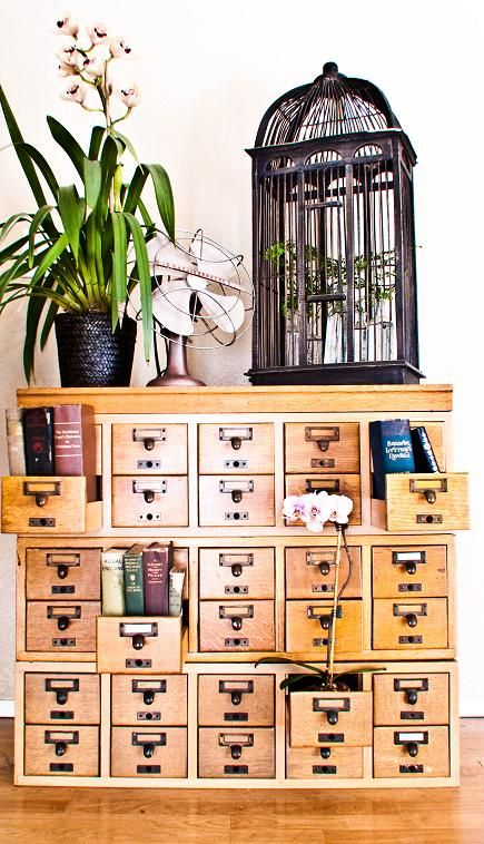 re-purposed upcycled card catalog.