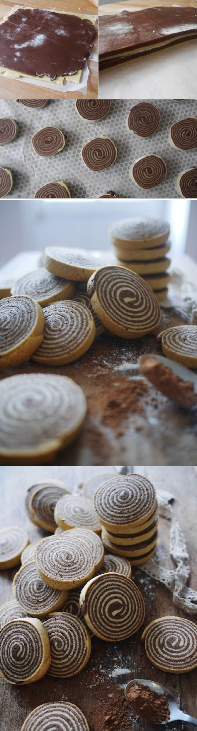 Chocolate and vanilla shortbread spiral ! The spiral biscuits, it titillated me to try because I find it really too beautiful. I took out my perfect shortbread recipe of my grandmother