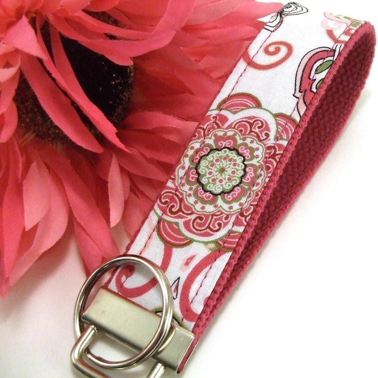diy keychain you will never lose | Wristlet Keychain Key Fob KEYLETTE...Funky Retro Pink Lime Floral