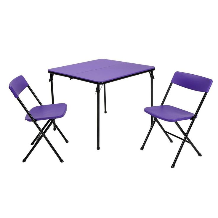 3 Piece Indoor/Outdoor Tailgate Set in Purple with Black Frame