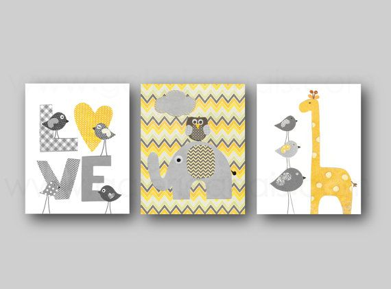 Grey yellow chevron Nursery art baby nursery decor nursery wall art Kids art bird owl Love elephant giraffe Set of 3 Prints