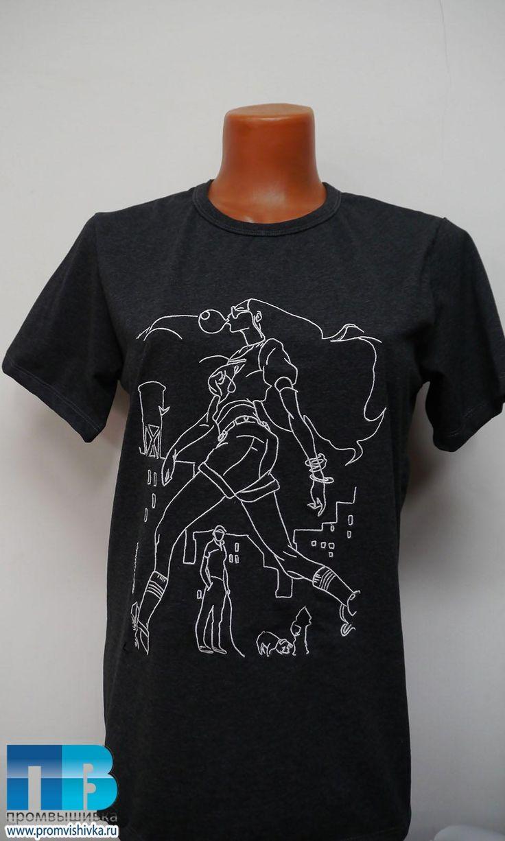 Фото вышивки рисунка на футболке