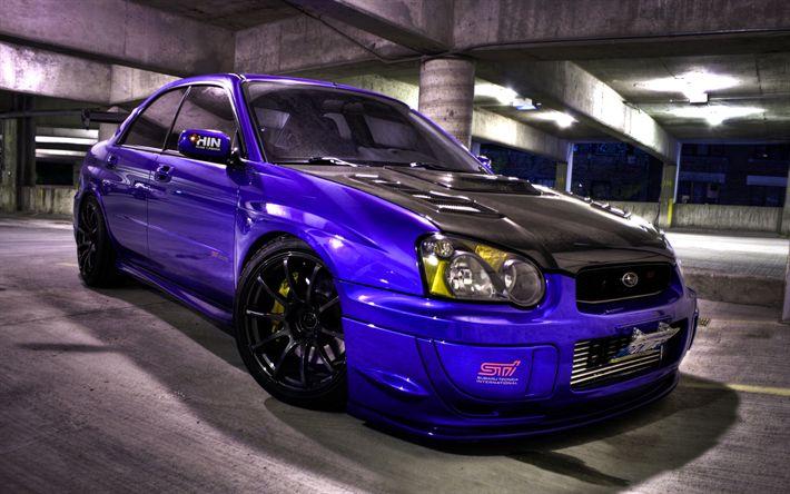 Download wallpapers Subaru Impreza WRX STI, HDR, tuning, stance, purple Impreza, supercars, parking, Subaru