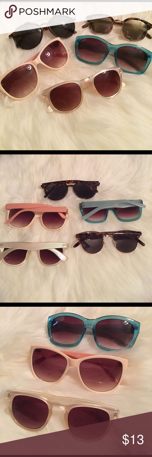 "Lot of 5 Sunnies! 5 pairs of sunglasses, all shapes and sizes! Sunnies are my favorite way to polish any look! Blue are from the GAP, style name is ""Lafayette"", iridescent Aldo, pink and aviator HM, mirrored tortoise shell Old Navy. Used,good condition. Summer's coming! 😎 Accessories Sunglasses"