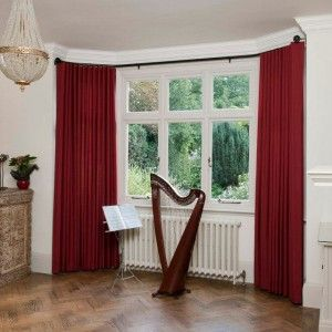wood tile flooring with curtain and red curtain plus bay window curtain rods