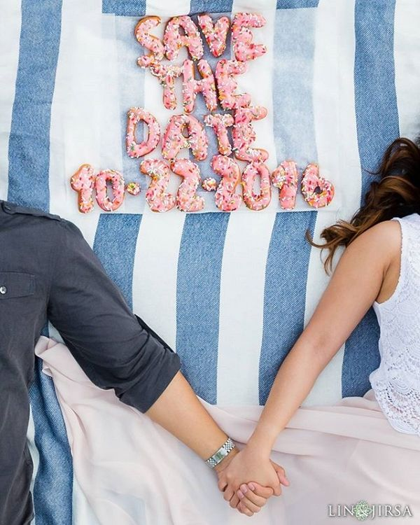 Creative Doughnut Save the Date Picture | Lin and Jirsa Photography on @aisleperfect via @aislesociety