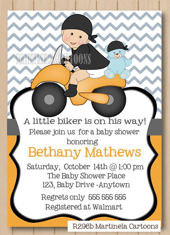 Motorcycle baby shower invitation, printable biker baby invite, orange chevron stripes, coed shower, dark skin baby available