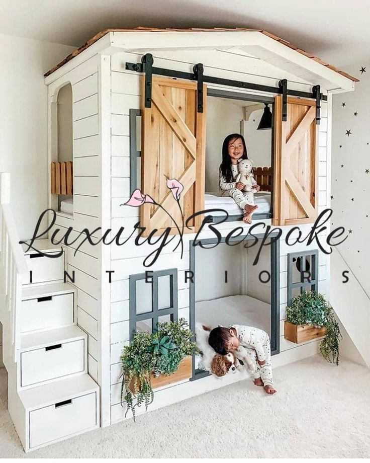 Made to order homely cottage bunk bed slide shutters