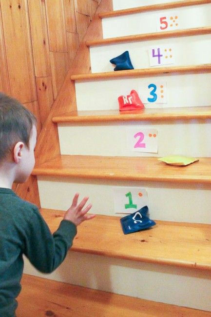 Bean Bag Toss on the Stairs - http://www.howweelearn.com/bean-bag-toss-on-the-stairs/