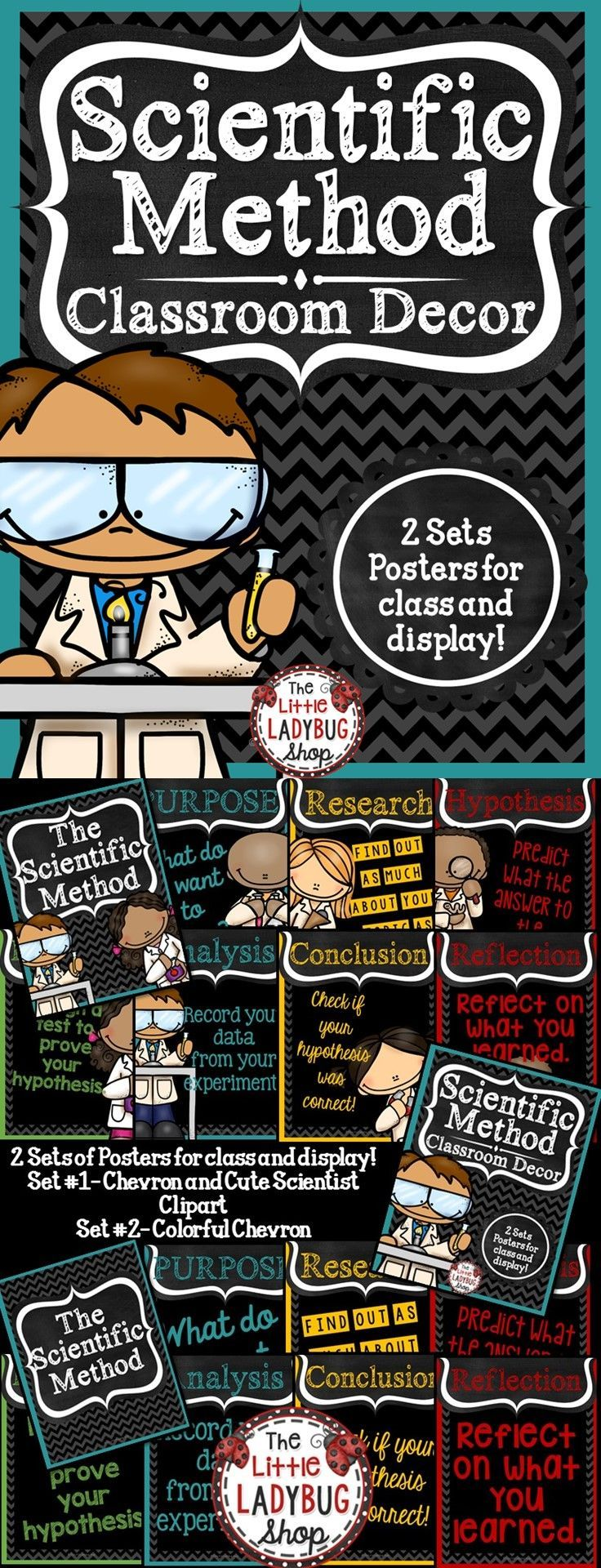 Scientific Method Posters   Scientific Method   Science  These Scientific Method Posters are PERFECT for your SCIENCE class decor.   ★★Included★★ ★7 Posters CHEVRON Colorful with Scientist Clipart {Purpose, Research, Hypothesis, Experiment, Analysis, Conclusion} Extra Reflection Poster ★7 Posters CHEVRON Colorful {Purpose, Research, Hypothesis, Experiment, Analysis, Conclusion} Extra Reflection Poster ★7 Student Cards for Interactive Notebooks- CHEVRON Colorful {Purpose, Research…