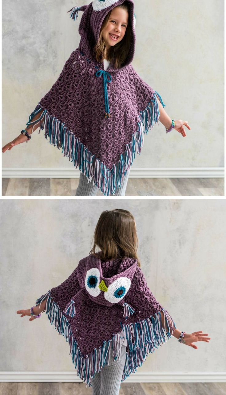 The Hooded Owl Poncho is a Hoot! Find the Crochet Pattern here