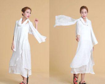 Twee lagen linnen tuniek / jurk van etnische stijl / 21