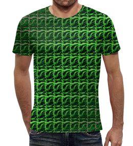 """Футболка с полной запечаткой """"Зеленая абстракция"""" - стильная, зеленый, абстракция, гамма, 2017"""