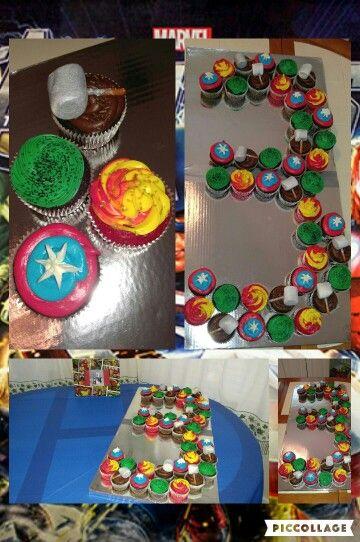 Homemade Avengers cupcakes