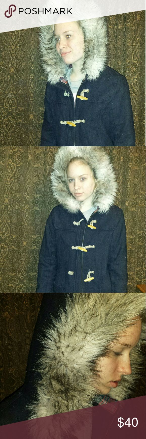 American Eagle Outfitters Coat Blue American Eagle  coat with fur hood. Gently used condition. American Eagle Outfitters Jackets & Coats Pea Coats