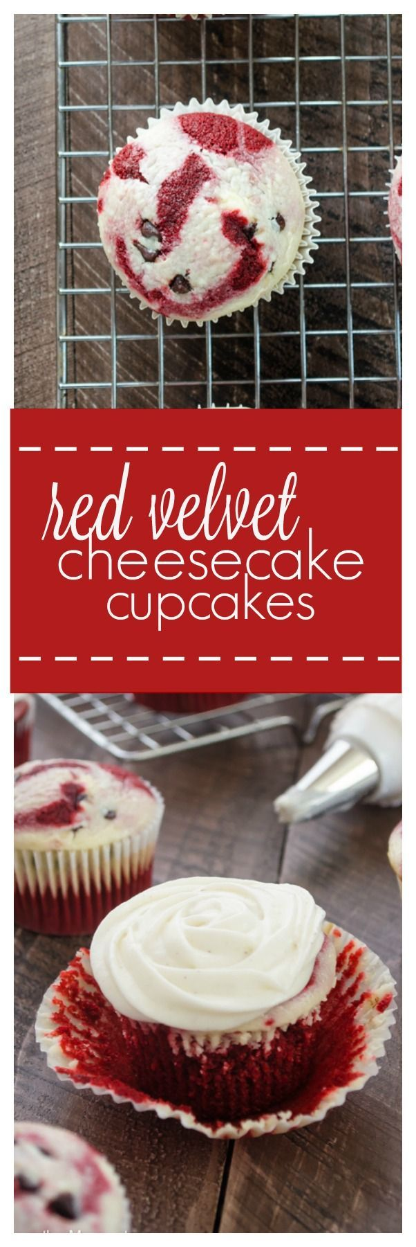 Red Velvet Cheesecake Cupcakes are moist and light red velvet cupcakes baked with a chocolate chip cheesecake filling and topped with tangy cream cheese frosting! /FlavortheMoment/