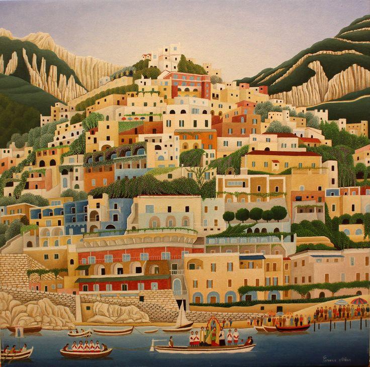"Cesare Novi, ""Homage to Positano"", 2014, Oil on canvas, 50X50cm"