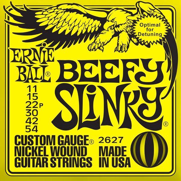 Ernie Ball 2627 Beefy Slinky - Jeu de 6 cordes pour guitare électrique. Adapté pour du drop tuning. 011 - 015 - 022p - 030 - 042 - 054