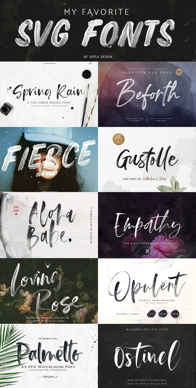 My Favorite Svg Fonts Graphic Design Fonts Watercolor Font