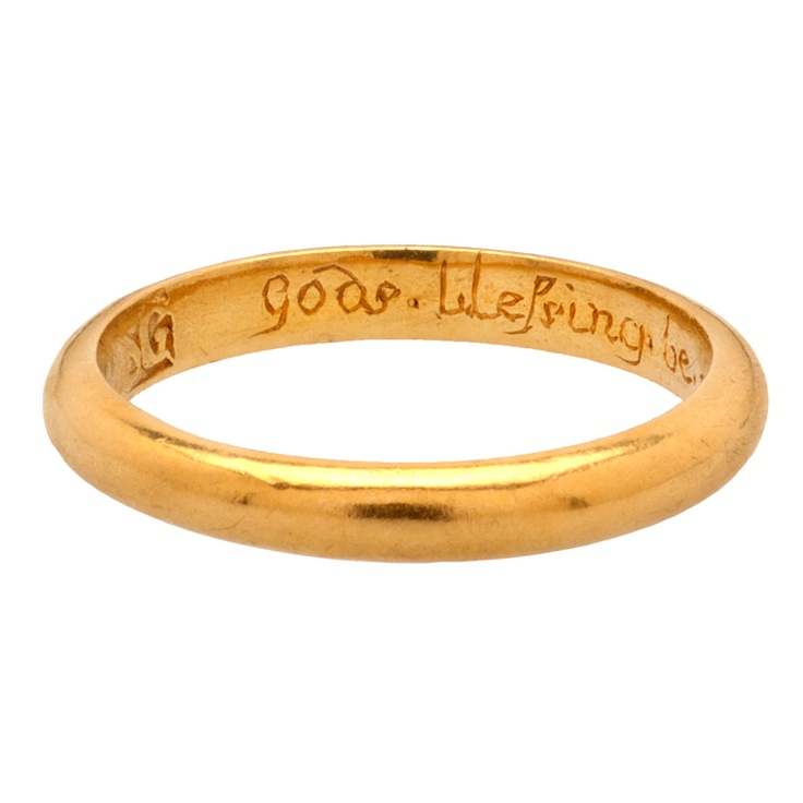 """Posy or Poesy Ring """"God's Blessing Be on Thee and Me"""".  England, 17th century."""
