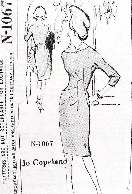 1960s Spadea Designer Pattern 1067 Rare Jo Copeland Classy Cocktail Evening Dress Figure Flattering Side Drape Stunning Design Bust 38 Vintage Sewing Pattern