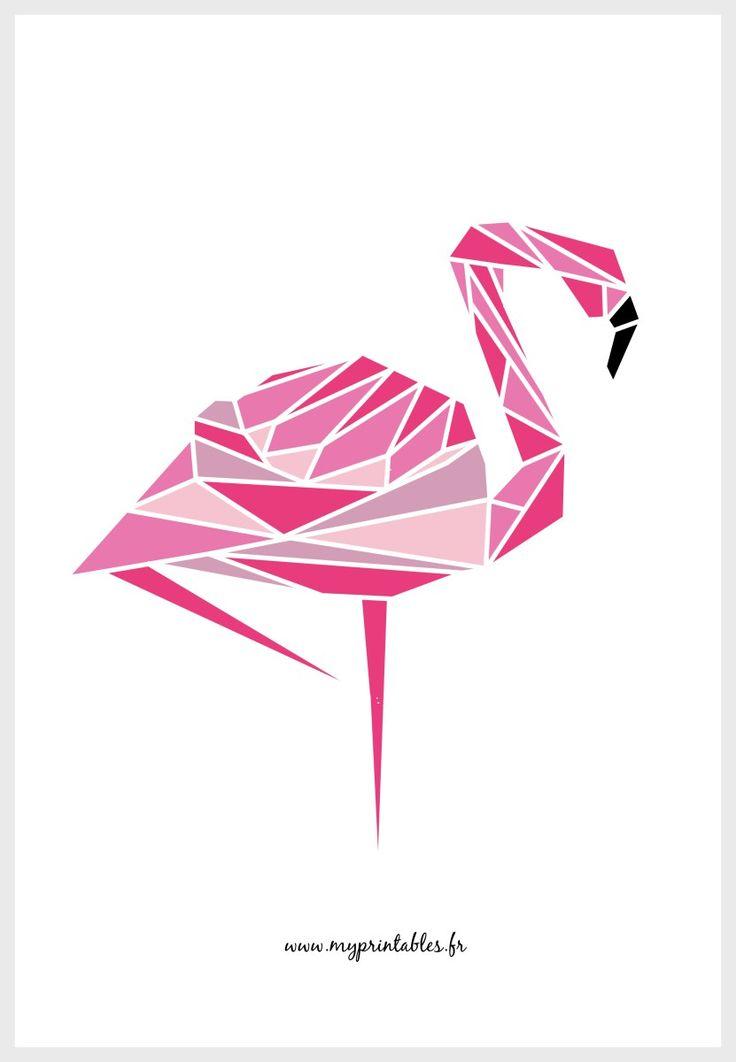 Nouvel animal géometrique (avec et sans couleur) ! Et puisque le flamant-rose vous plait et que l'on n'en trouve pas beaucoup sous cette forme sur le web, j'ai choisi à nouveau ce…