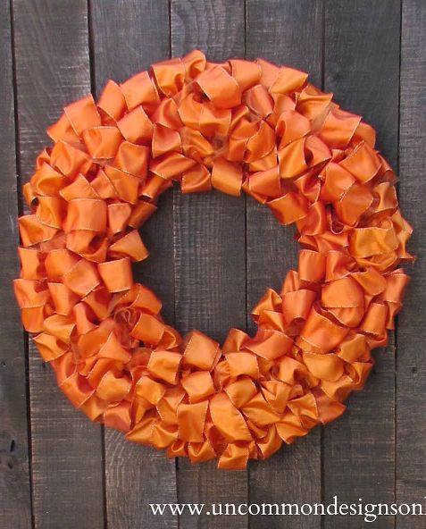 Easy Fall Ribbon Wreath