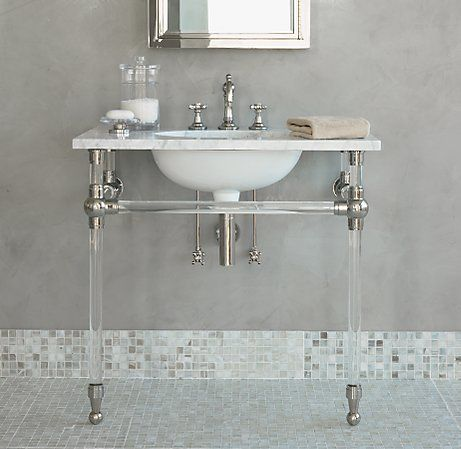 tile bathroom powder lucite sink bathrooms retreats bathroom chic