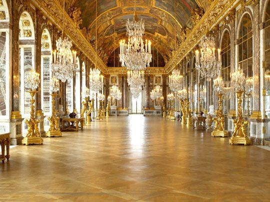 The Hall of Mirrors at Versailles, built by Louis XIV in an unprecedented display of grandeur.