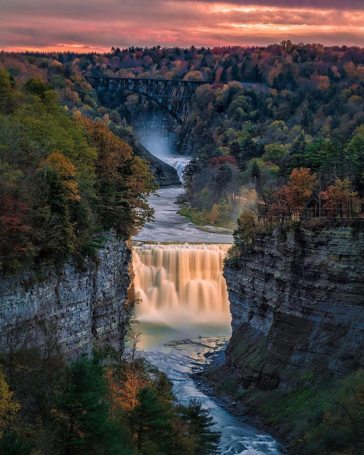 Letchworth Upperfalls after Sunset [Letchworth State Park NY USA][1537x1920][OC][@zToad] #arya #love #instagood