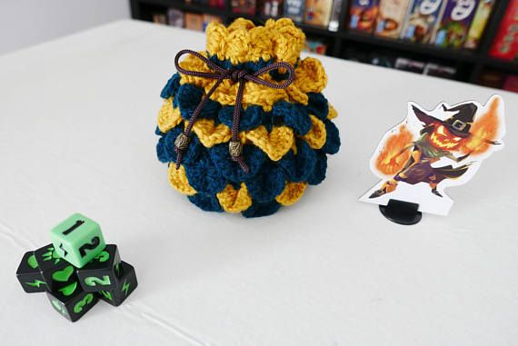 Hey, I found this really awesome Etsy listing at https://www.etsy.com/listing/521226918/dice-bag-crochet-dragon-scale-yellow-and