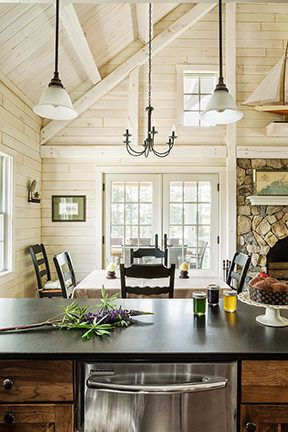 Log Cabin Interiors on lake house cottage decor