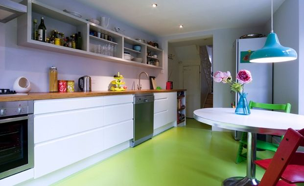 Count them bright and colorful kitchen design ideas for Colourful lino flooring