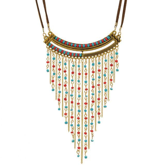 Franja de cuentas Collar Maxi Collier Plastron Collares Hippie de Boho Chic Indio Nativo Americano Joyería Declaración Collar Babero