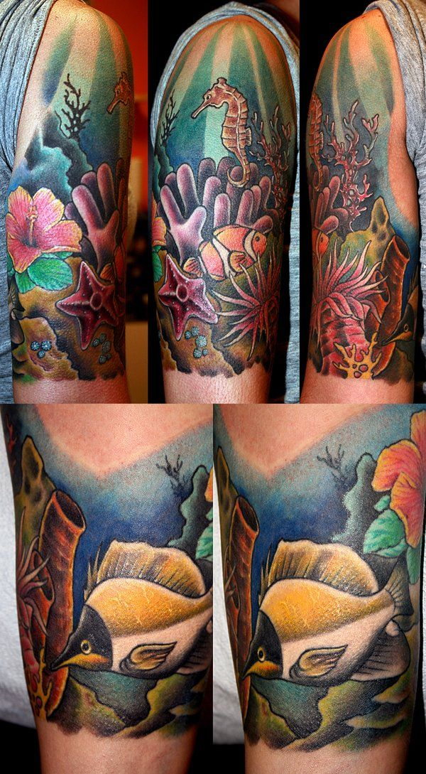 This is too flat for the look I want, but good example  Tropical Underwater Tattoos Designs | coral reef by MrTat2